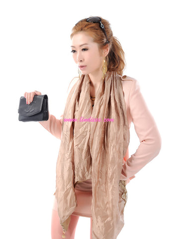 SILK & LACE SCARF - GOLDEN SATIN