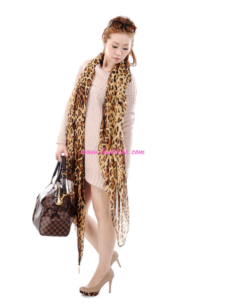 SILK LEOPARD OMBRE SCARF