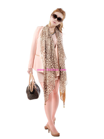 SILK LEOPARD SCARF - GOLDEN
