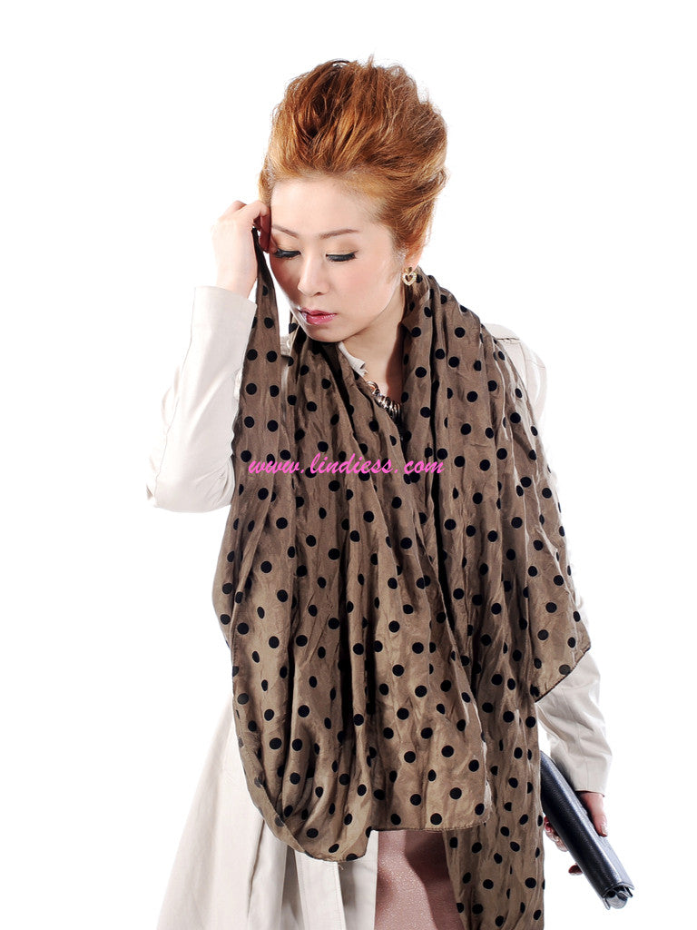 SILK POLKA DOTS SCARF - ARMY GREEN