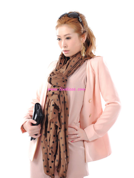 SILK POLKA DOTS SCARF - BROWN
