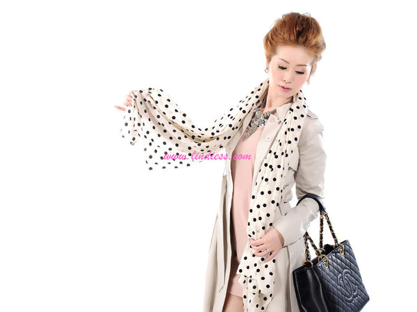 SILK POLKA DOTS SCARF - CREAM WHITE