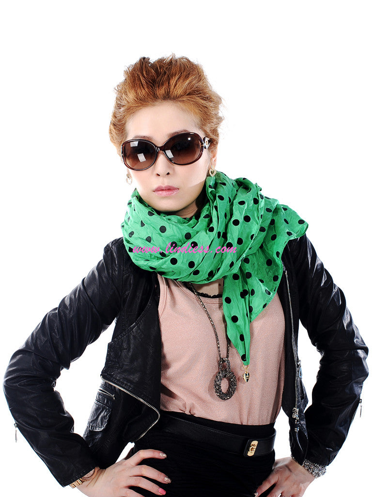 SILK POLKA DOTS SCARF - GREEN