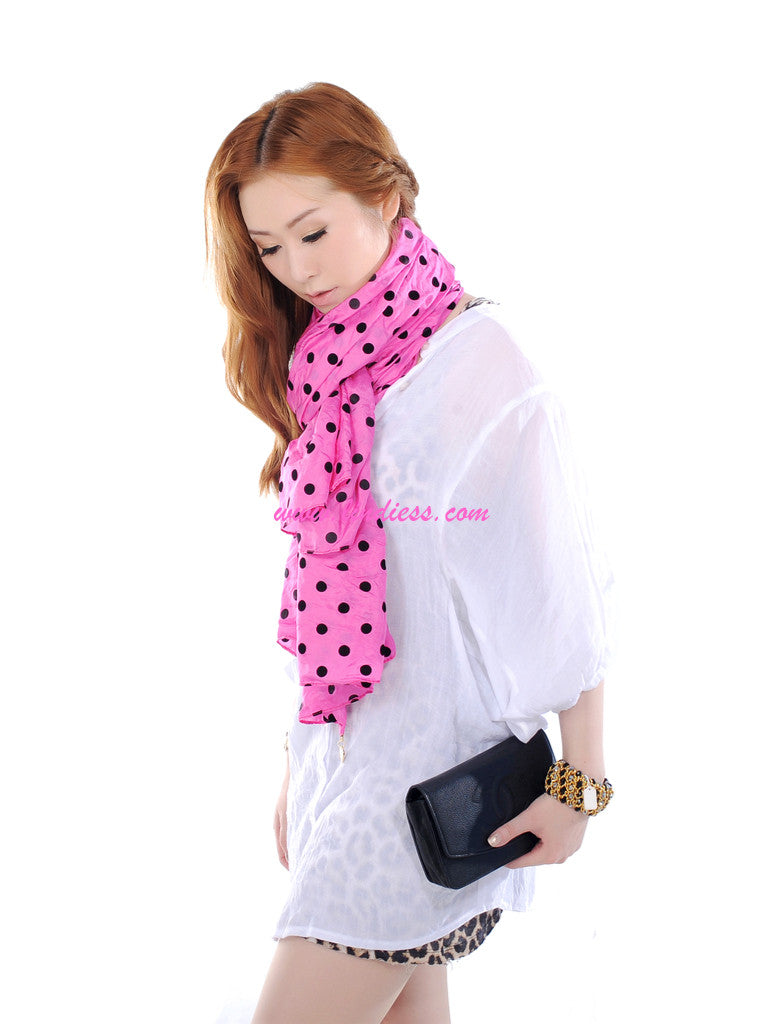 SILK POLKA DOTS SCARF - HOT PINK