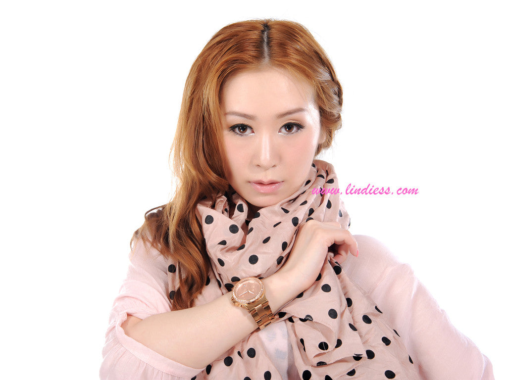 SILK POLKA DOTS SCARF - ROSE