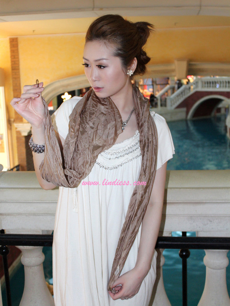 SILK SCARF - GOLD SATIN