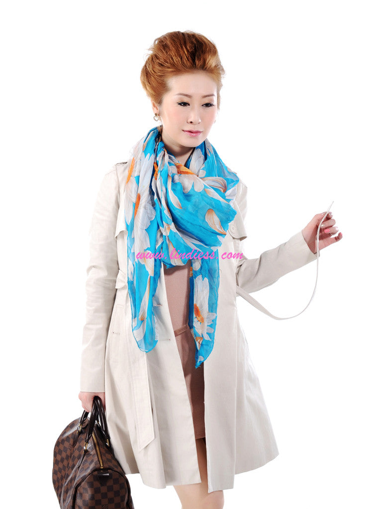 SILK SUNFLOWERS SCARF - SKY BLUE