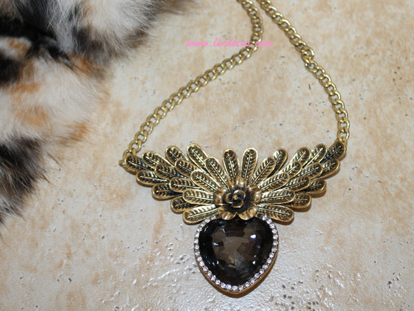 VINTAGE GOLD TITANIC ROSE HEART DIAMOND NECKLACE