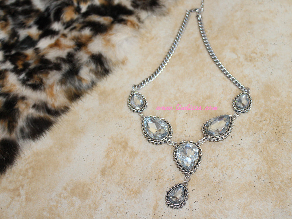 vintage silver necklace diamond products lindiess big diamonds prom