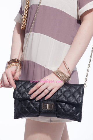 LINDIESS CLASSIC CAVIAR MULTI FLAP BAG