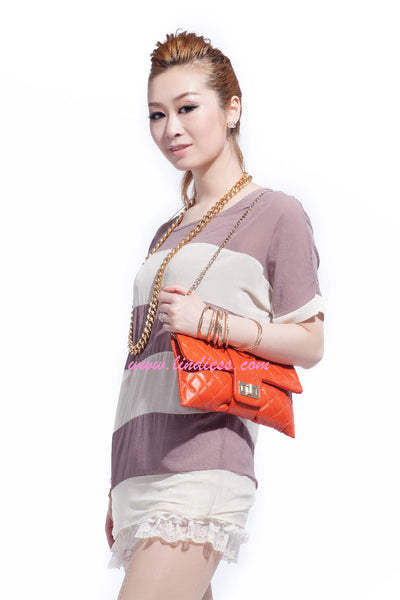 LINDIESS CLASSIC CAVIAR MULTI FLAP BAG - ORANGE