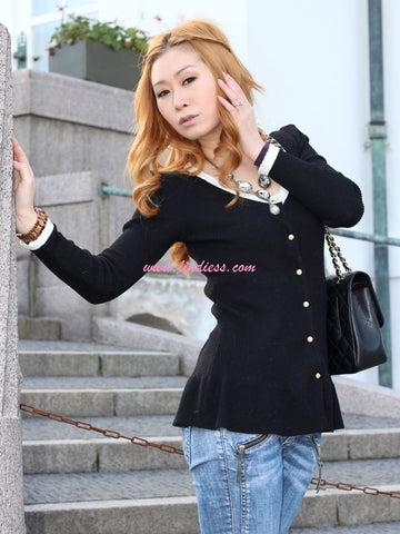 CLASSIC PEPLUM CARDIGAN WITH PEARLS