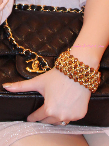 GOLD CRYSTAL BLING BRACELET - BRONZE