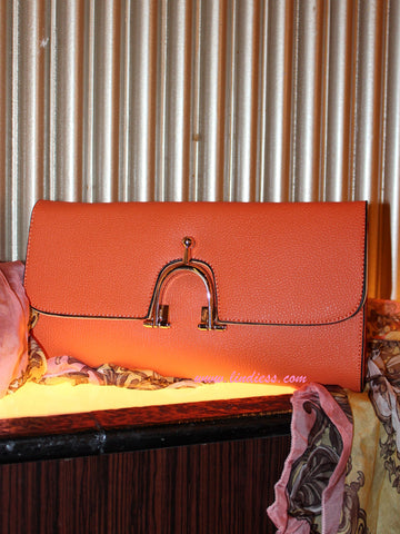 CLASSIC FLAP BAG CAVIAR LEATHER CLUTCH - ORANGE