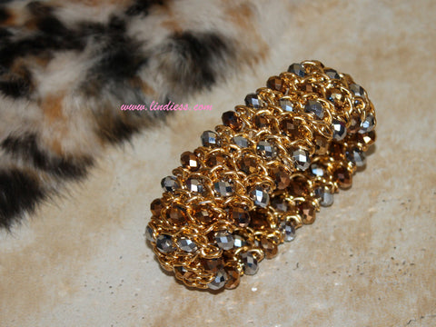 GOLD 2 TONE CRYSTAL BLING BRACELET