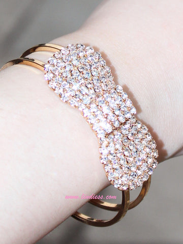 GOLD BOW BRACELET CLICK BANGLE