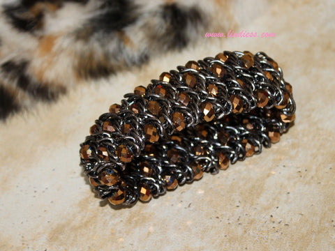 GOLD CRYSTAL BLING BRACELET - GUNMETAL BRONZE