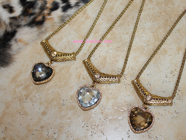 VINTAGE GOLD TITANIC HEART DIAMOND NECKLACE - GOLD