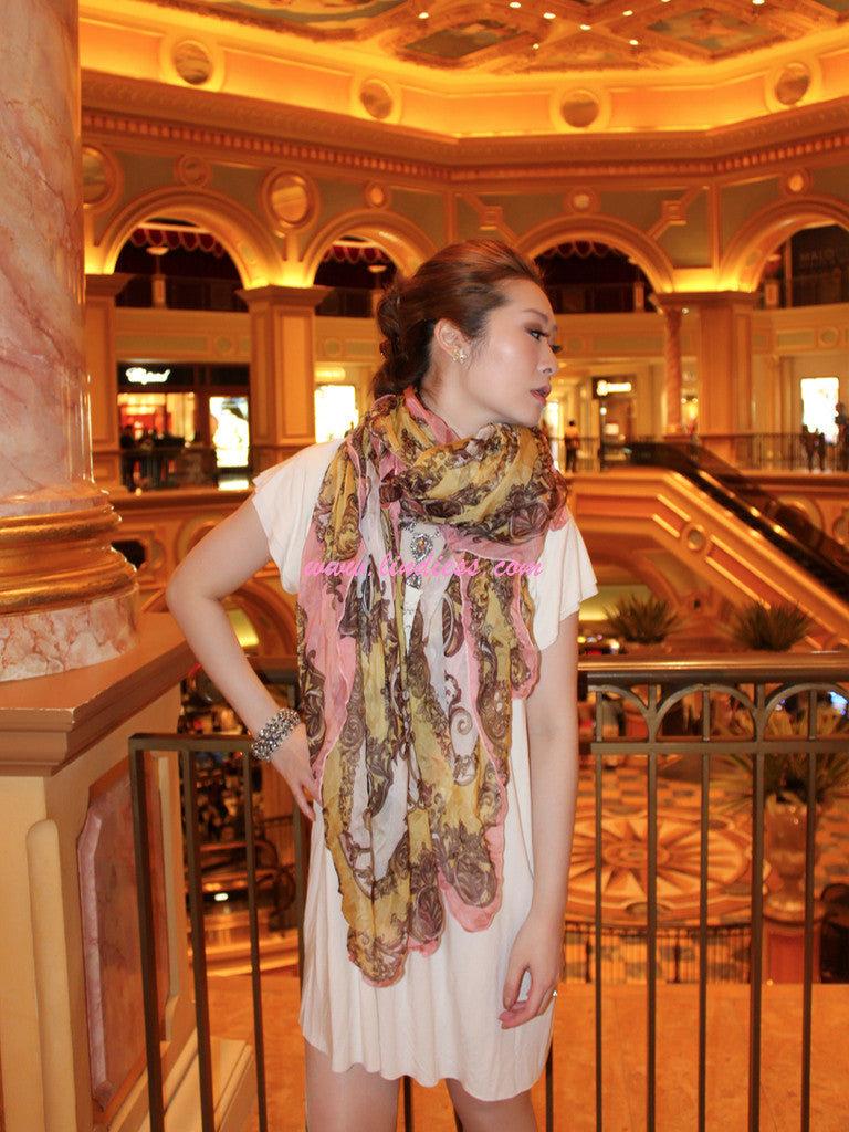 SILK VINTAGE PASTEL SCARF WITH CRYSTAL