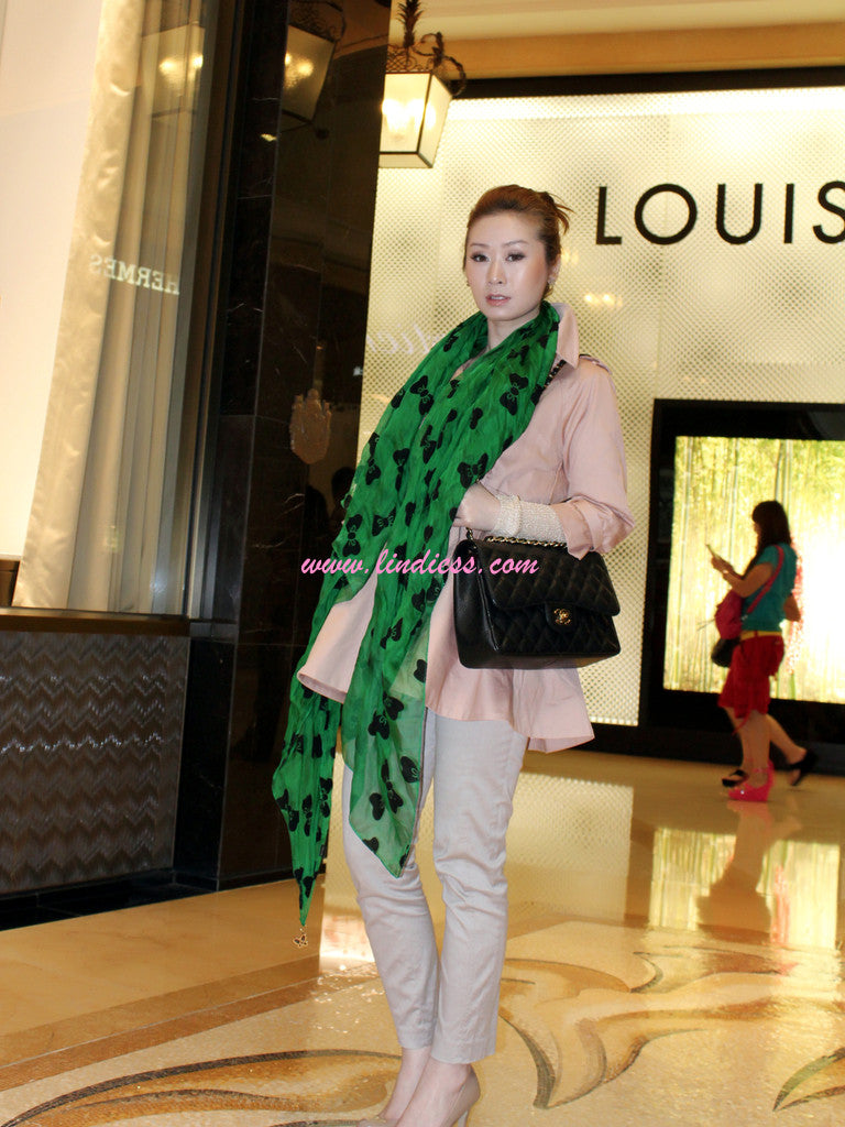 SILK BOWS SOFT SCARF - GREEN