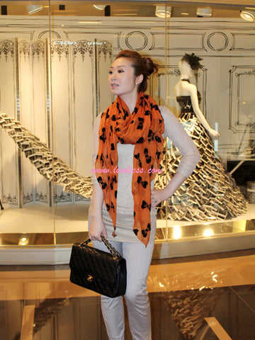 SILK BOWS SOFT SCARF - ORANGE