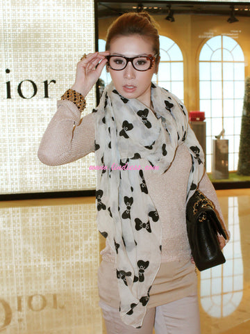 SILK BOWS SOFT SCARF - WHITE