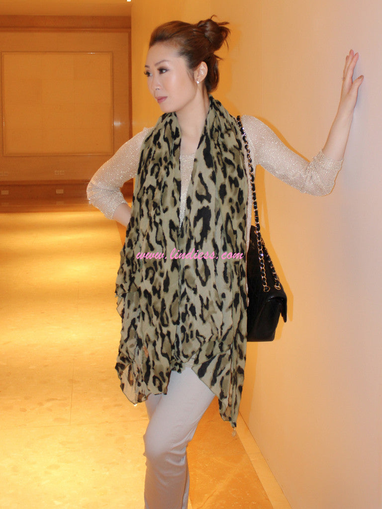 CHIC VOLUMENESS BIG LEOPARD SCARF - ARMY