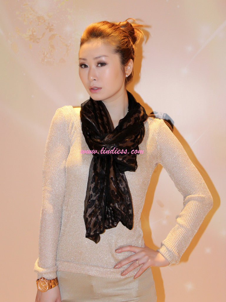 SILK DOUBLE LAYER LEOPARD SCARF - BLACK