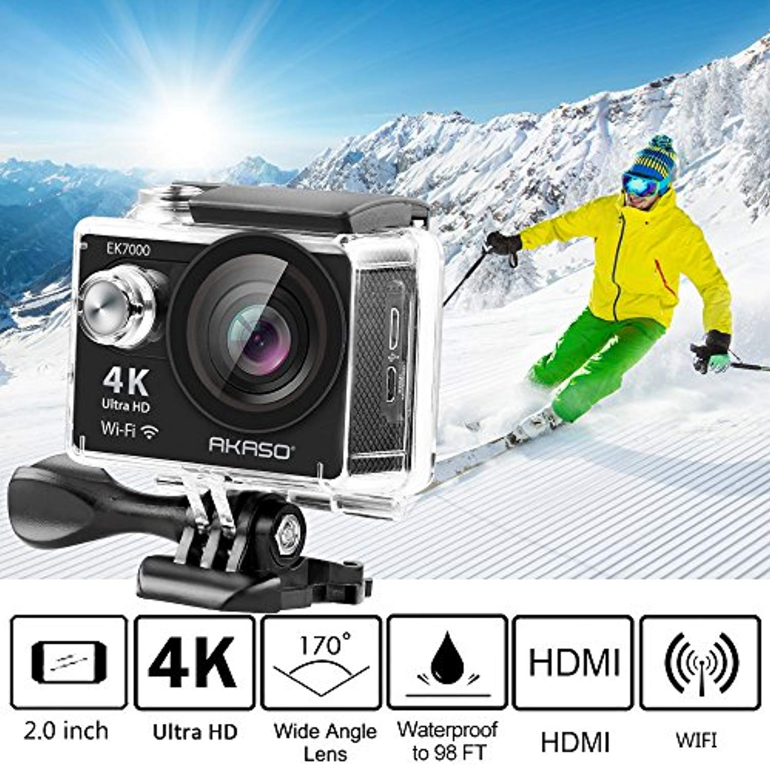 AKASO EK7000 Ultra HD 4K WIFI Sports Action Camera Waterproof DV Camcorder 12MP