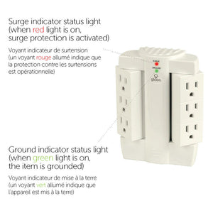 4 Way adaptateur Switched Surge Protection Cable Free Socket Avec Fluo Indicateur