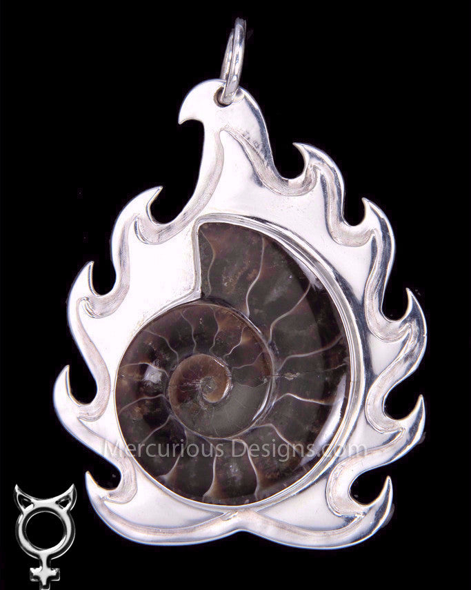 Ammonite Flame Pendant