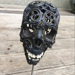 Carved Wooden Filigree Skull