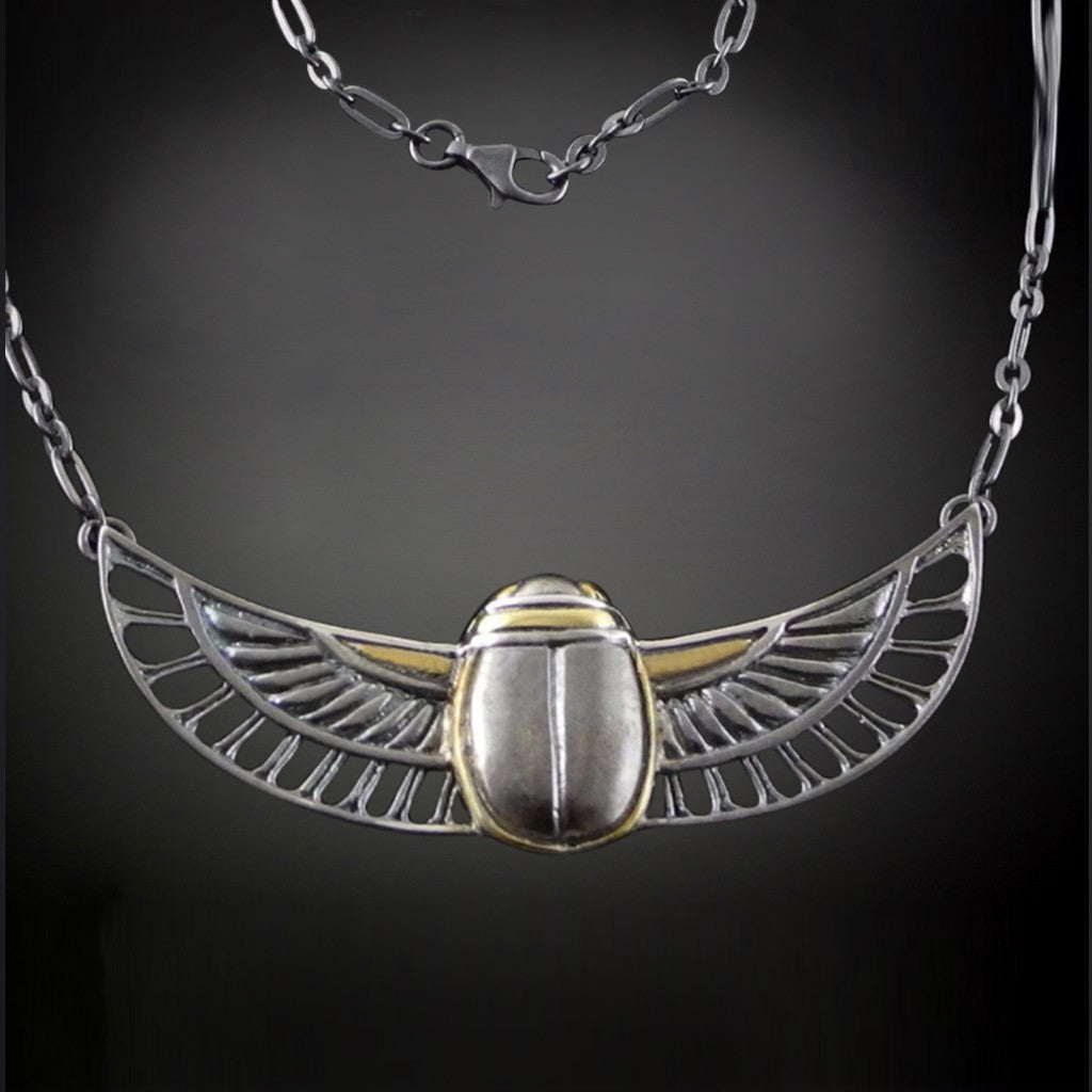 Scarab Pendant with Silver chain
