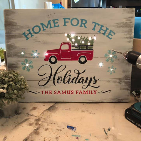 Vintage Holiday Truck Sign ••WITH LIGHTS•• DATES IN DROPDOWN MENU