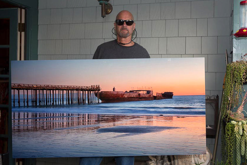 Cement Ship at Cropped to 30in x 60in wall art print for local Santa Cruz hotel