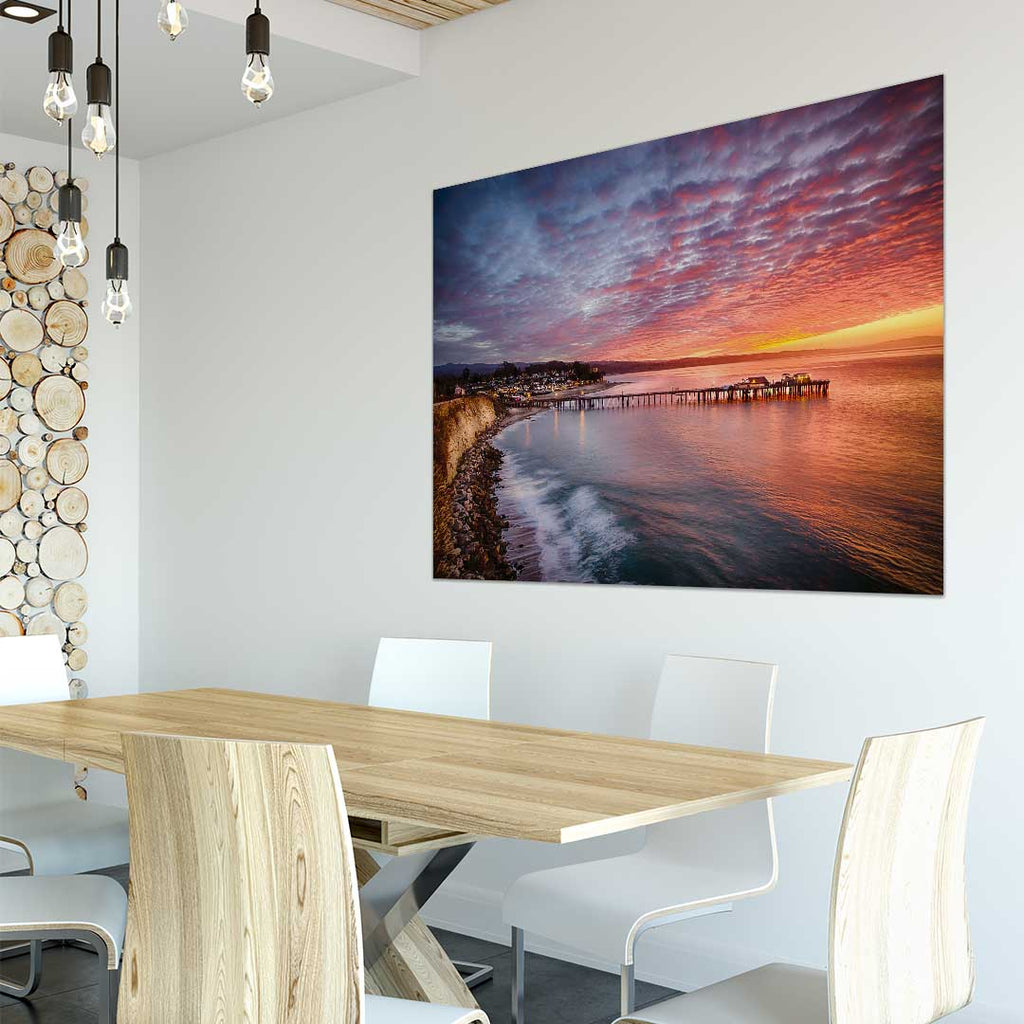 Capitola Wharf at Sunrise Metal Print in Company Meeting Room