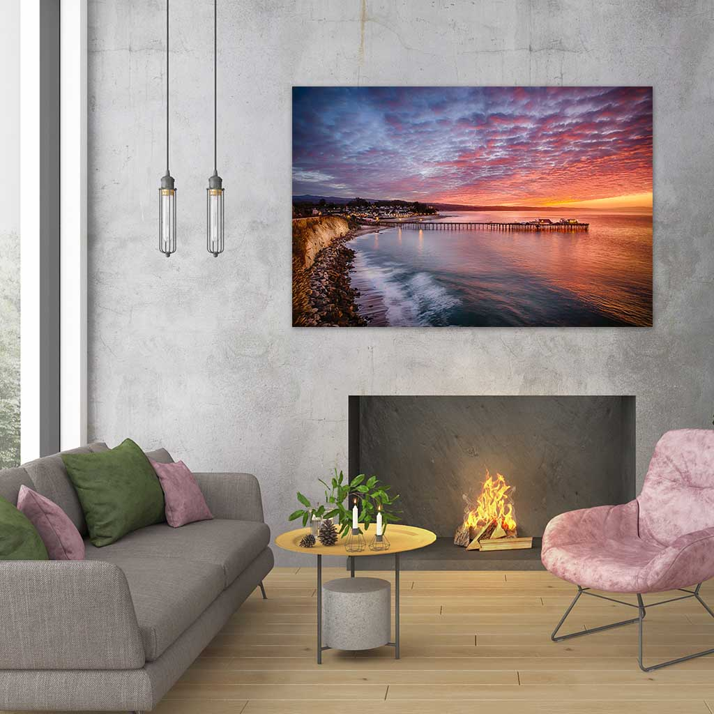 Living Room - Metal Print - Capitola Wharf at Sunrise