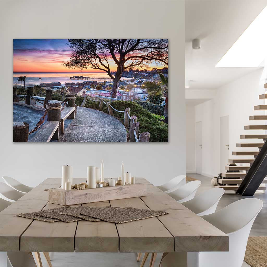 Depot Hill Sunset as metal print in dining room