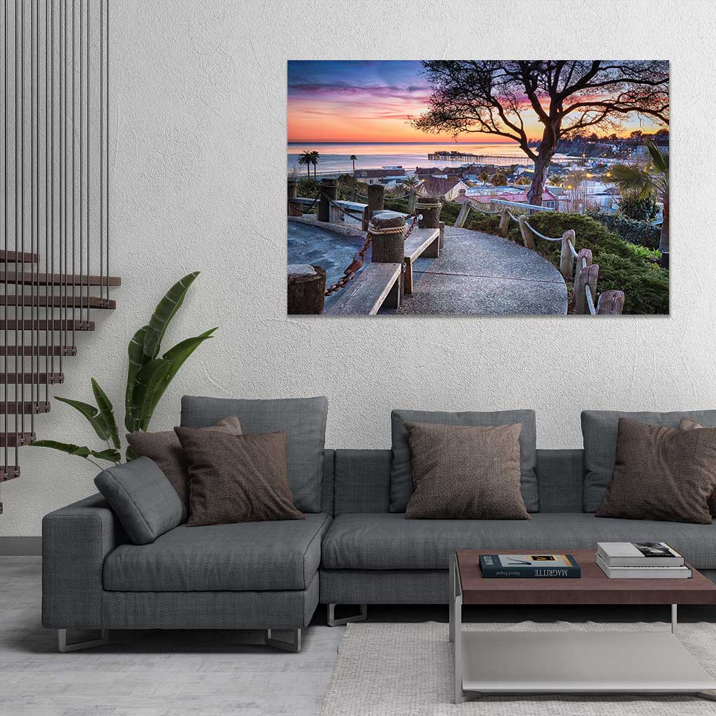 Depot Hill Sunset - Metal Print in Living Room