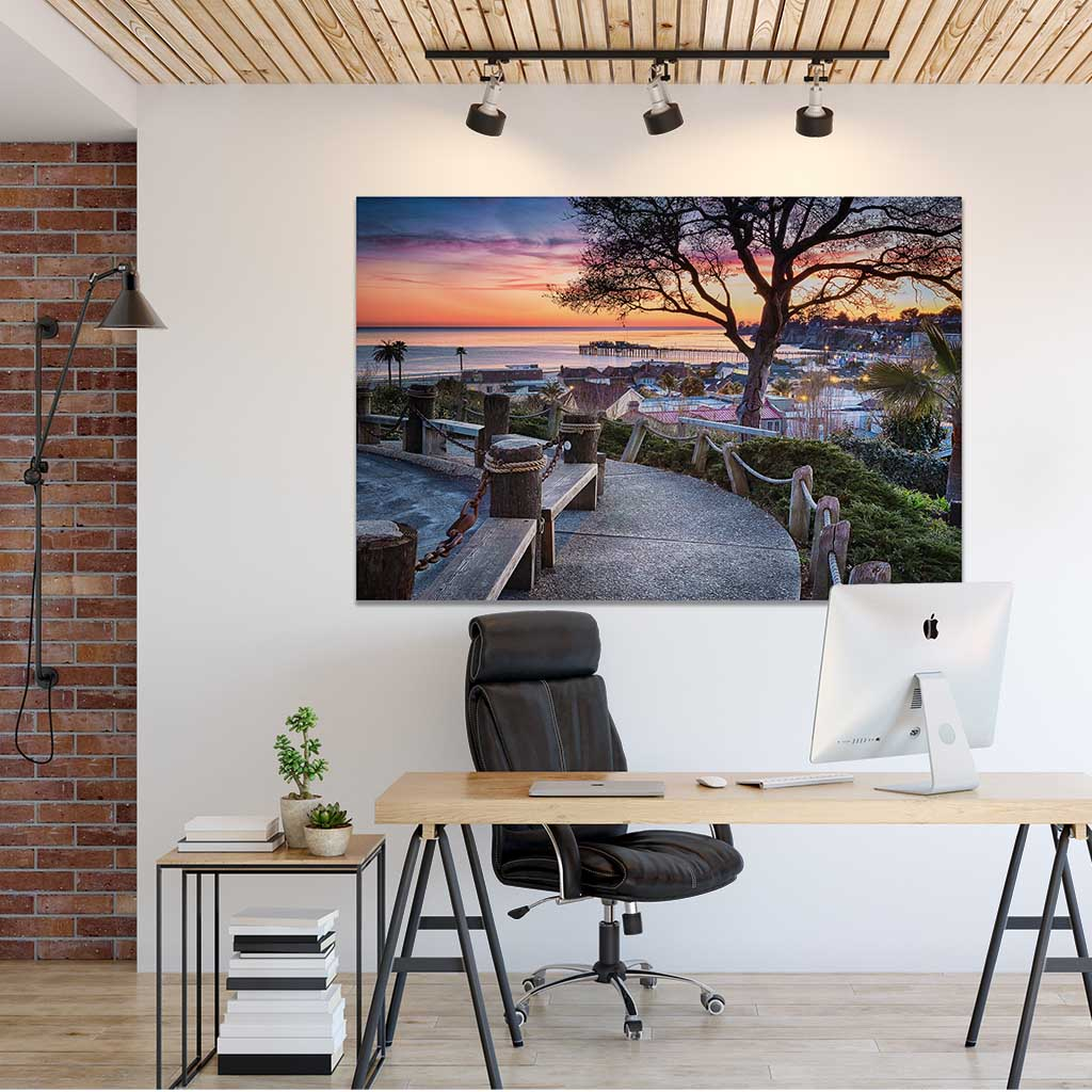 Office wall art, metal print, Depot Hill Sunset