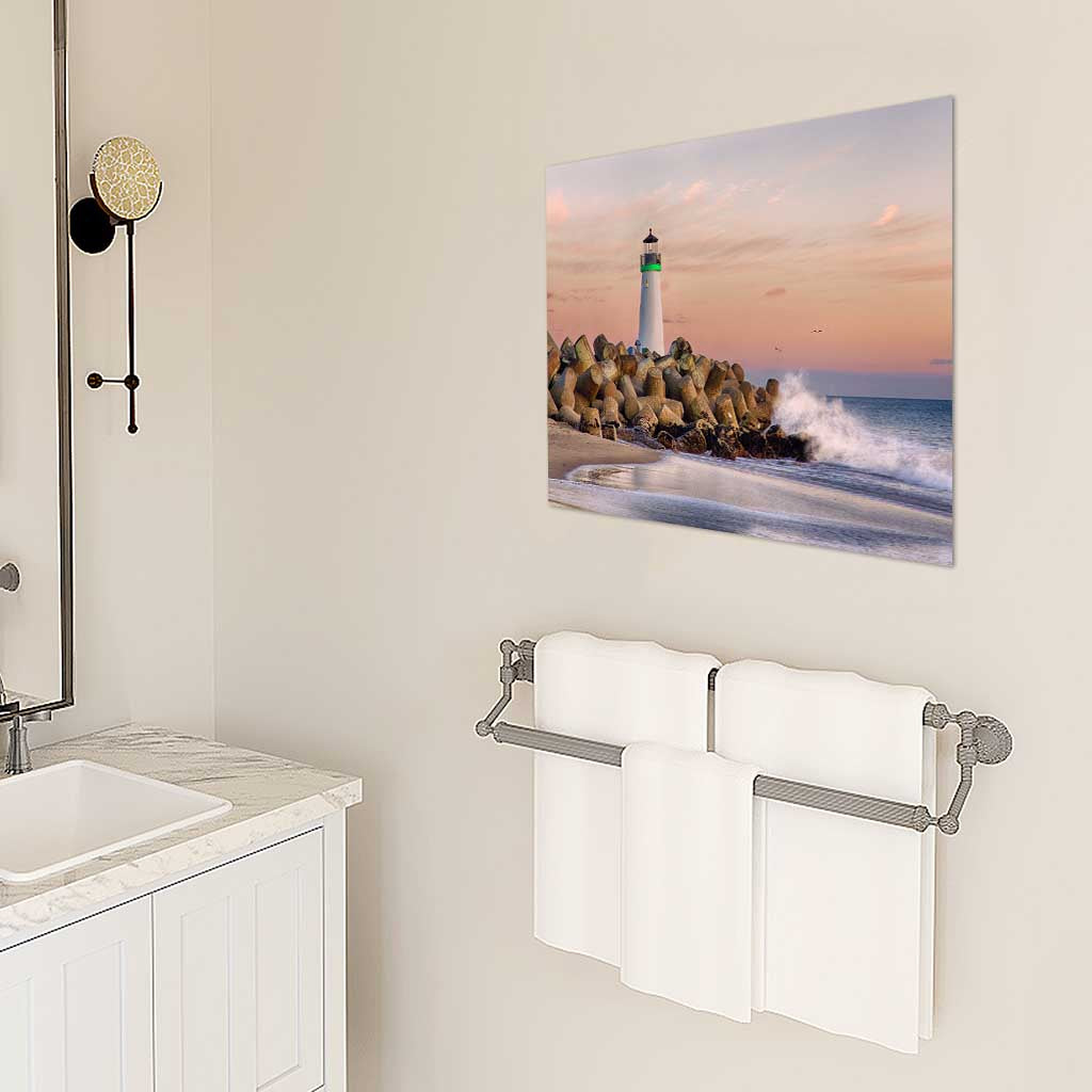 Harbor Light Metal Print as Bathroom Wall Art