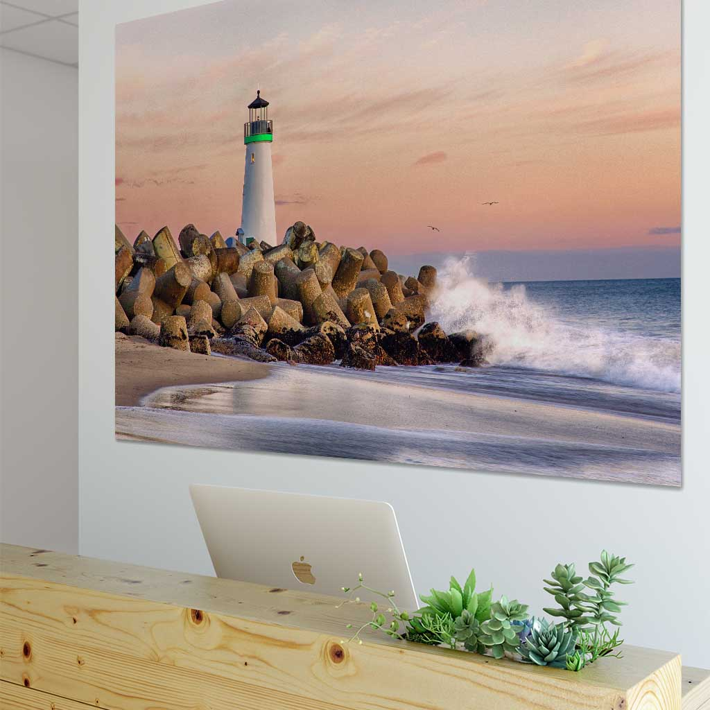 Metal print of Harbor Lighthouse in reception area