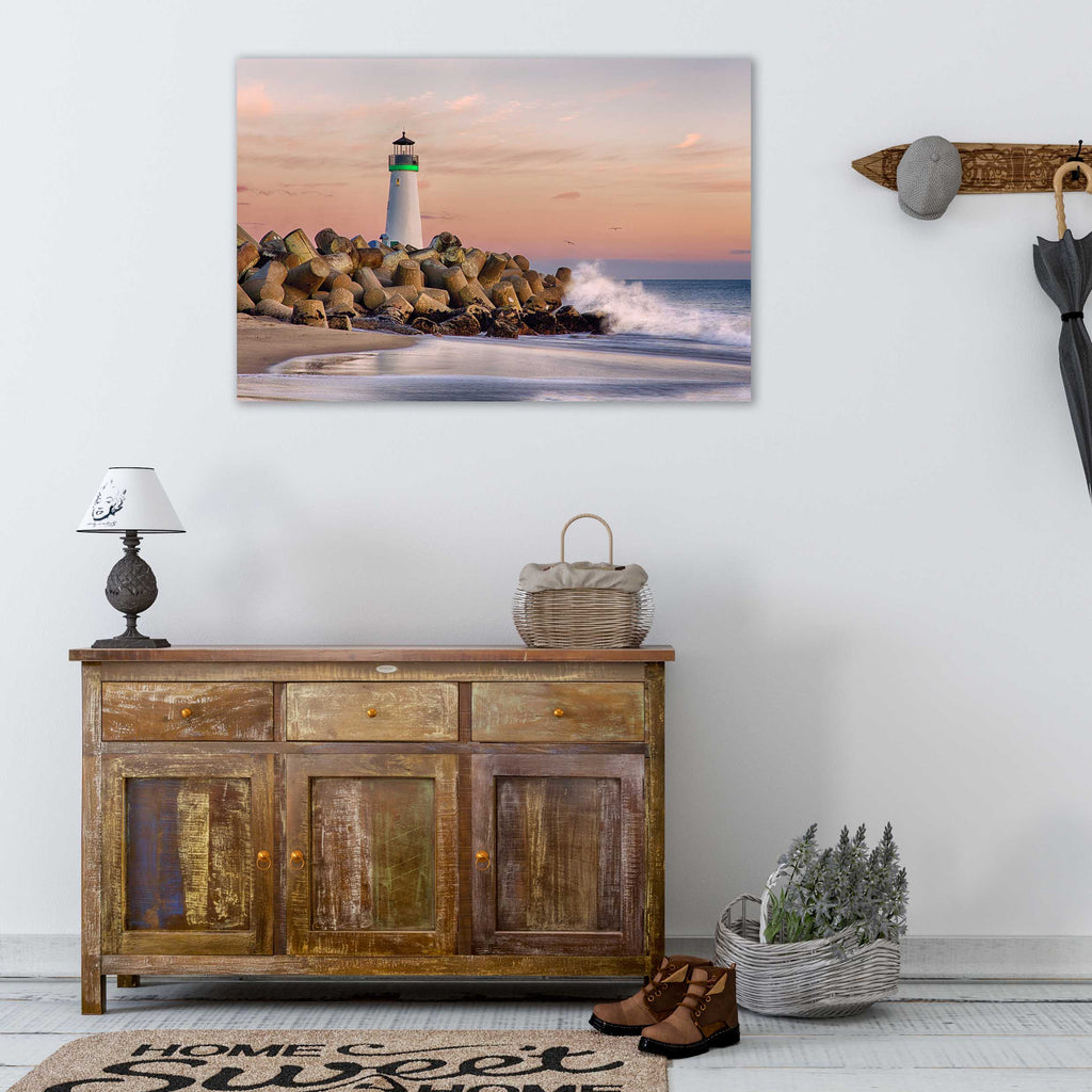 Harbor Lighthouse - Metal Print in Living Room