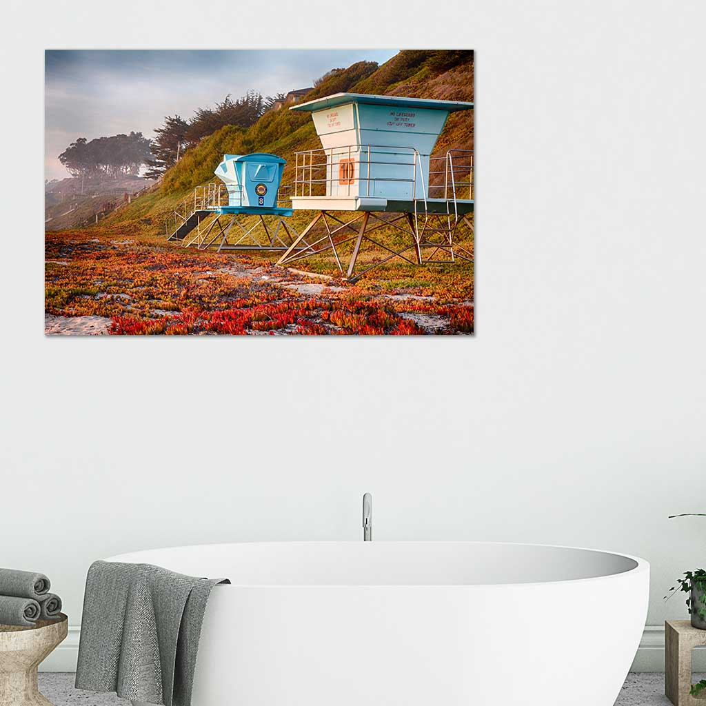 Life Guard Towers in Winter - Metal Print in bathroom