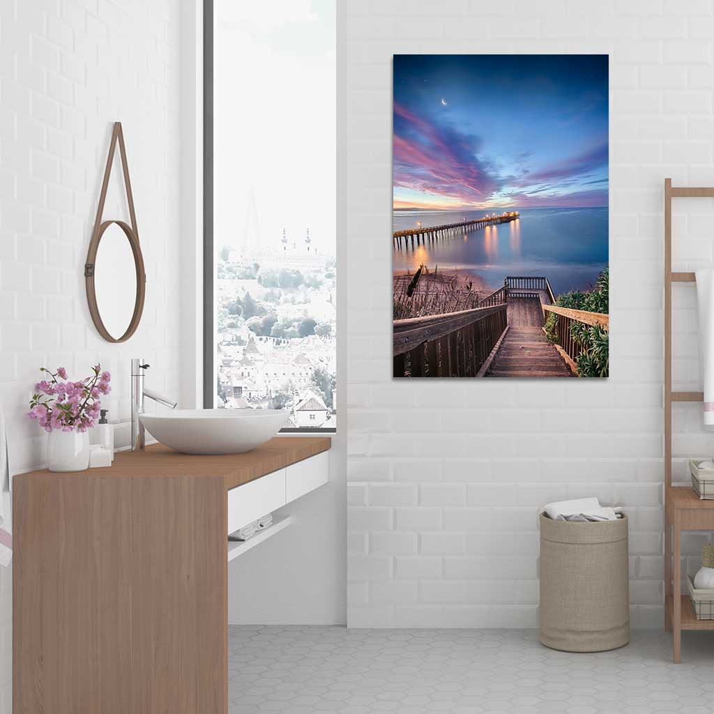 Bathroom Wall Art - Magical Morning in Capitola as Metal Print