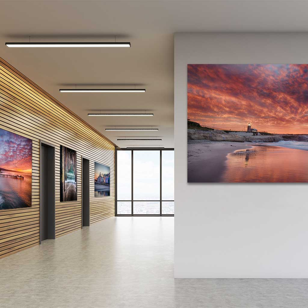 Metal prints in Office hallway, wall art