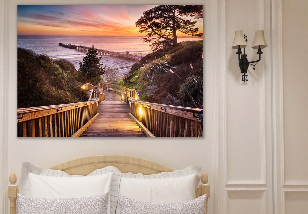 metal print on bedroom wall - Stairway to the Sunset