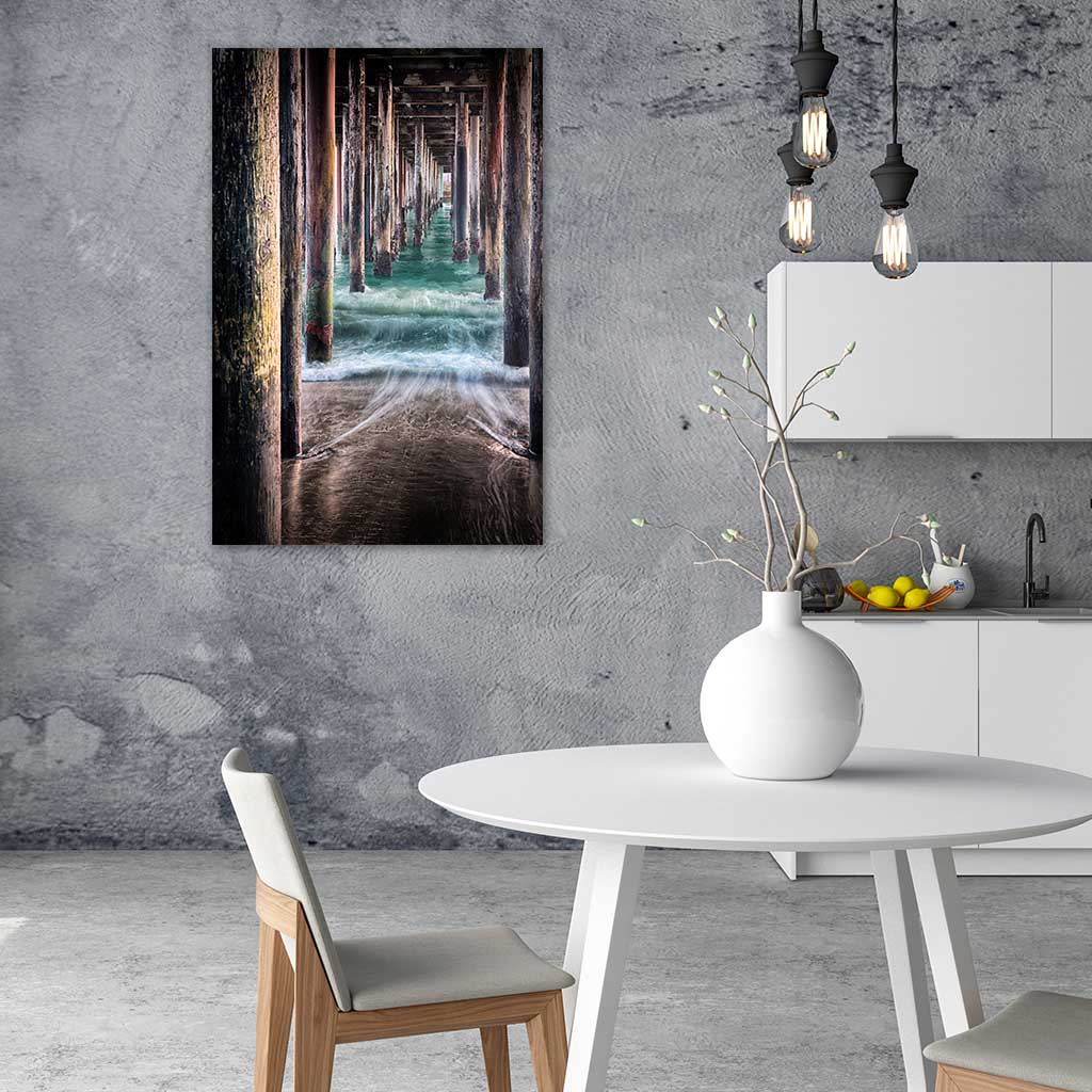 Under the Pier as metal print in Kitchen Dining Room