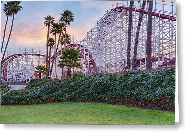 Santa Cruz Roller Coaster At Sunrise - Greeting Card - Santa Cruz Art Prints