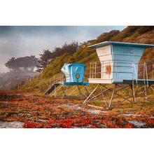 Load image into Gallery viewer, Life Guard Towers in Winter - Santa Cruz Art Prints